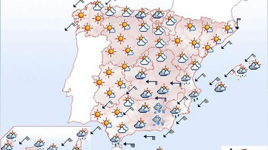 Mañana, viento y lluvias desde Canarias hasta Melilla, Estrecho y el sureste