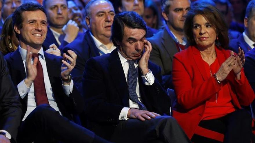 El presidente del PP, Pablo Casado, el expresidente del Gobierno José María Aznar, y la exalcaldesa de Madrid Ana Botella