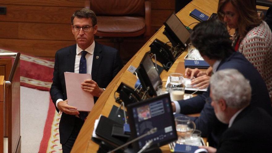 Feijóo, al inicio de una de sus intervenciones en el debate