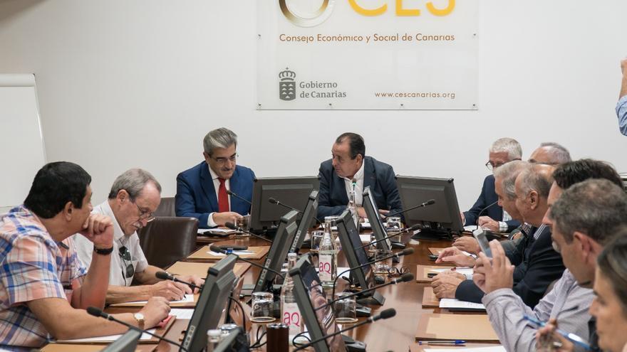 El vicepresidente Román Rodríguez en el Pleno del Consejo Económico y Social de Canarias (CES).