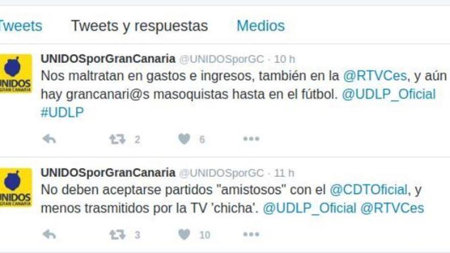 Mensajes en Twitter en la cuenta de Unidos por Gran Canaria tras la Copa Mahou