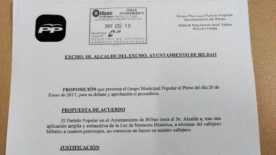 La propuesta del PP en Bilbao.