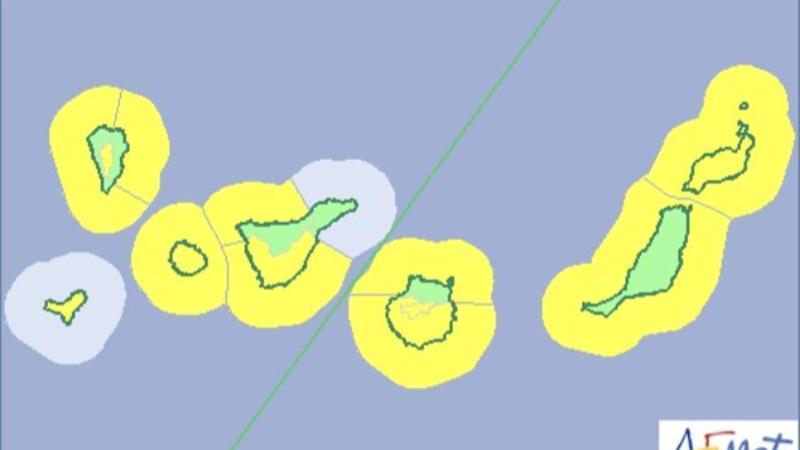 Mapa de la Aemet de los avisos de riesgo por fenómenos costeros y viento.