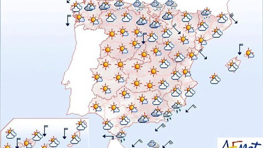 Hoy, ascenso de temperaturas en Meseta y Andalucía, y lluvias en Melilla