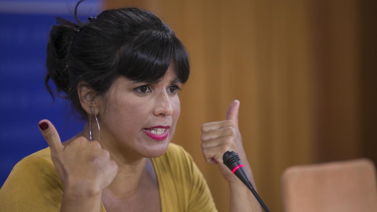 Teresa Rodríguez, en el Parlamento de Andalucía.