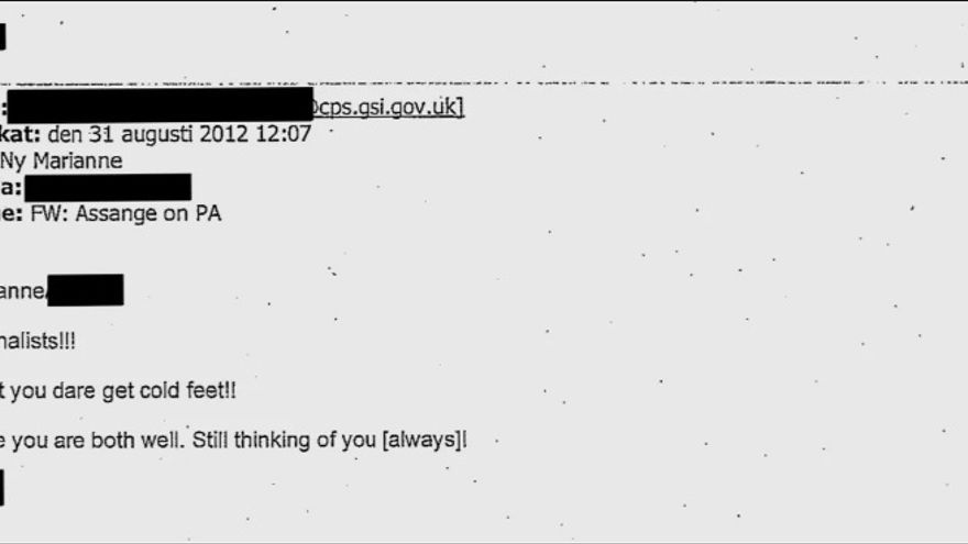 Correo electrónico de la Fiscalía británica a la fiscal general de Suecia, Marianne Ny.