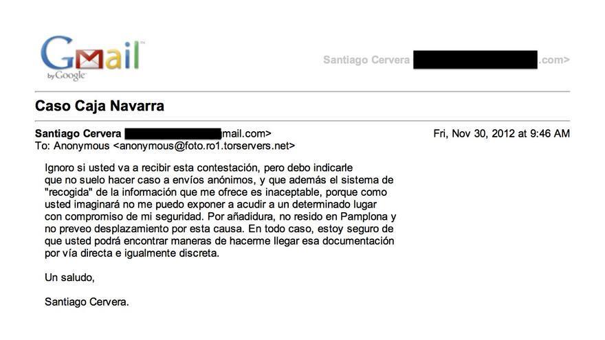 El supuesto correo que un anónimo envió a Santiago Cervera
