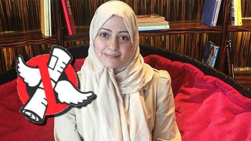 Foto de una activista falsamente identificada como Esra al-Ghamgham