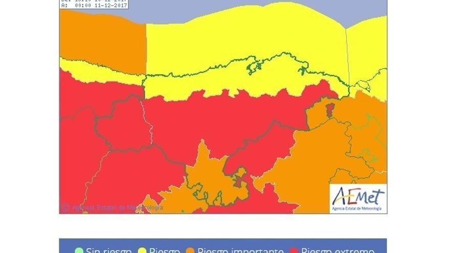 Se eleva a rojo el aviso esta tarde por viento en Liébana, valle de Villaverde y centro por rachas de 140km/h