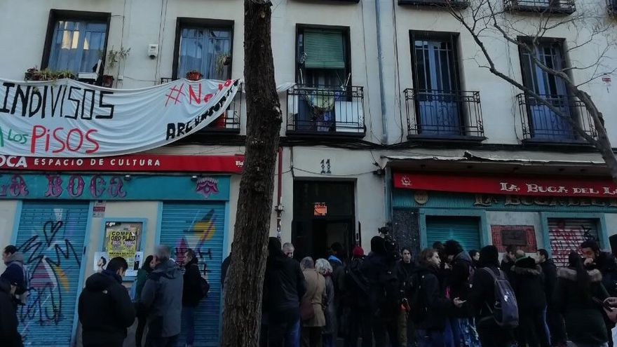 Panorama del bloque de viviendas en Argumosa 11, en el barrio de Lavapies en Madrid.