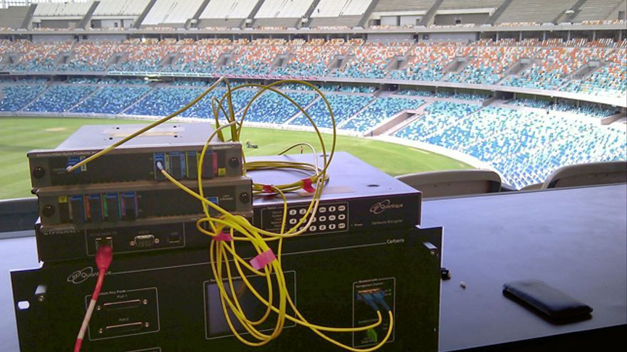 Sistema de criptografía cuántica de ID Quantique en el estadio de Durban durante la Copa del Mundo de fútbol en Sudáfrica (2010)