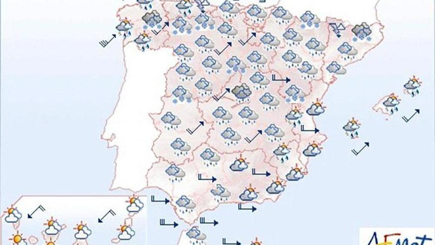 Viento fuerte, lluvias en Galicia y nevadas en la mitad norte peninsular