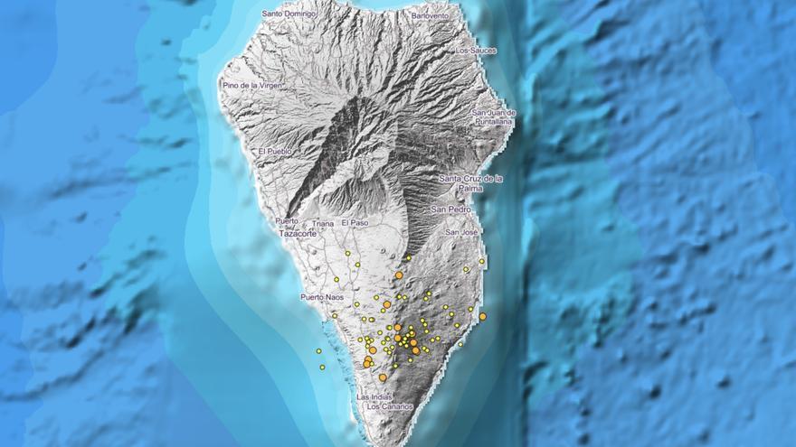 Imagen del IGN donde se indica los puntos donde se han localizados movimientos sísmicos en La Palma y su entorno.