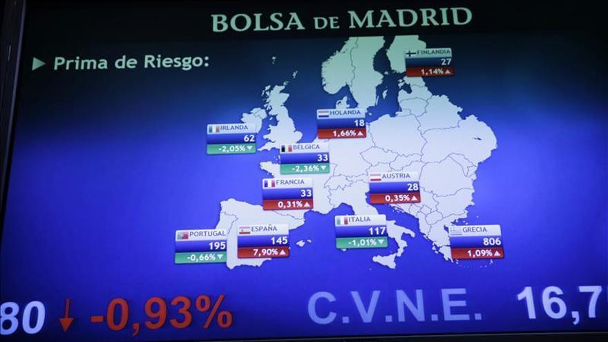 La prima de riesgo española baja a 134 puntos por la caída del bono español