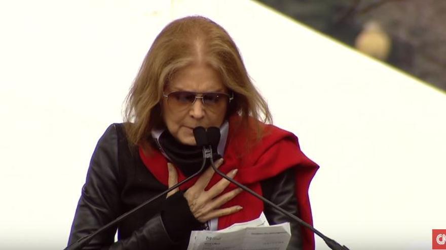 La periodista y escritora estadounidense Gloria Steinem, durante su discurso en la Women's March de Washington