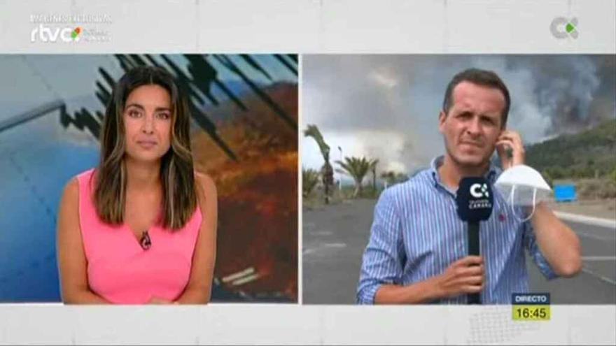 Informativo de la Televisión Canaria sobre la erupción del volcán de La Palma.