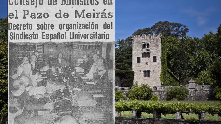 Noticia sobre una reunión del consejo de ministro de Franco en Meirás, publicada por 'La noche' en 1961