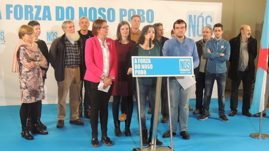 Miembros de las candidaturas de NÓS, valorando los resultados