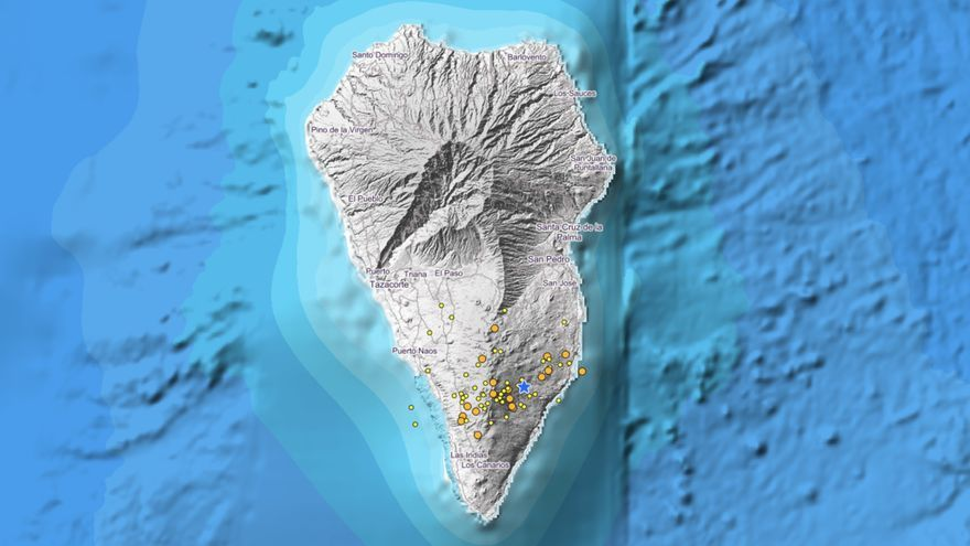 Imagen IGN donde se indica los puntos donde se han localizados los últimos sismos.