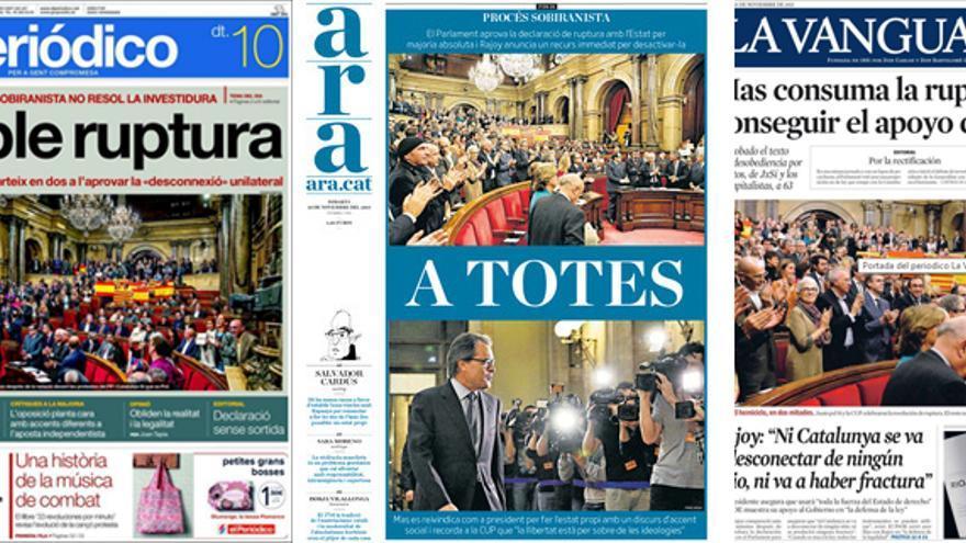Portadas de los diarios catalanes del 10/11/2015