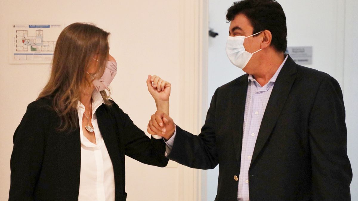 Sabina Frederic con Fernando Espinoza, intendente de La Matanza