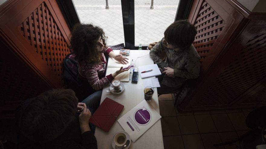 Un momento de la entrevista a Katerina Sergidou / Alejandro Navarro
