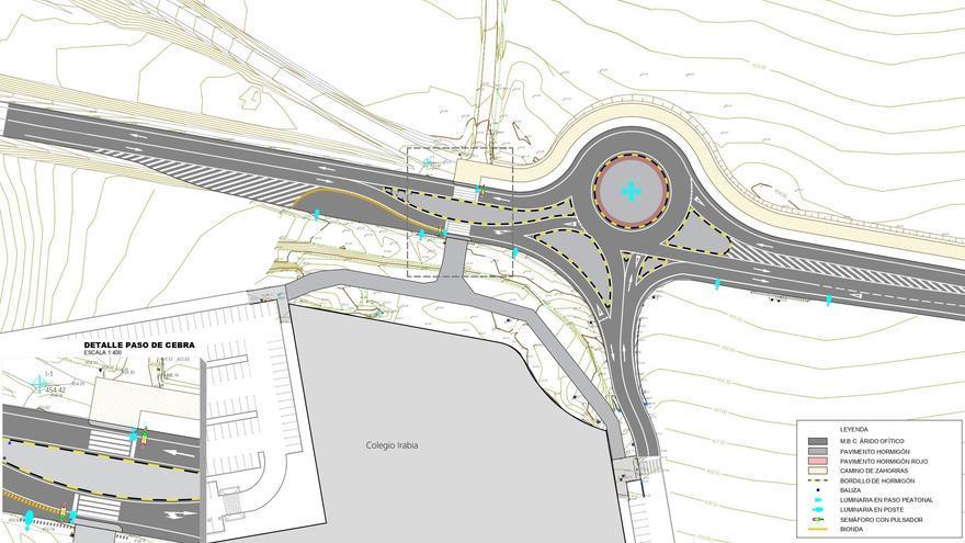Proyecto del paso de cebra regulado por semáforos para el pasopeatonal y ciclista de la carretera NA-6001, en el entorno del colegio Irabia