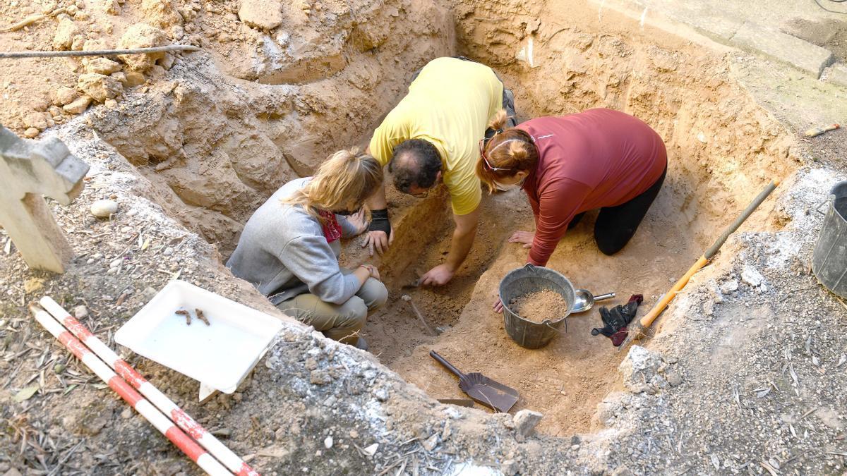 Trabajos de exhumación de fosas en el Cementerio Municipal de Alcañiz