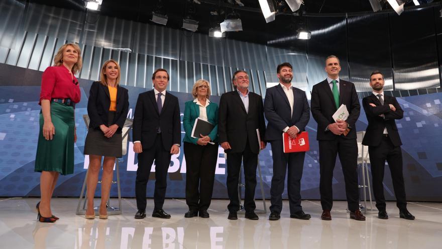 Los candidatos al Ayuntamiento de Madrid en el debate electoral de Telemadrid.