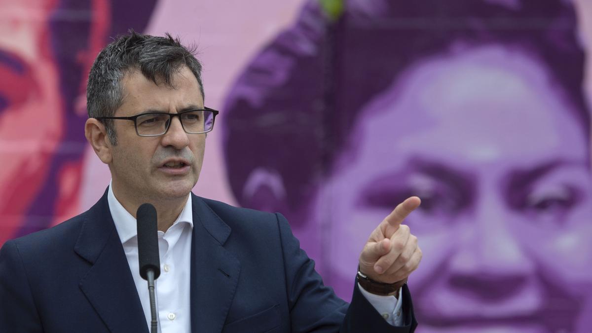 El nuevo ministros de Presidencia del Gobierno, Félix Bolaños, en un acto del PSOE en  la campaña de las elecciones madrileñas.