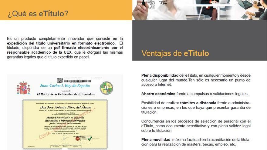 Imagen del díptico en el que la Universidad de Extremadura promociona el e-título