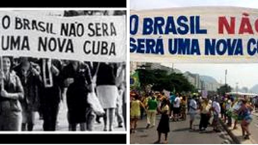 El mismo leam de las Marchas das Famílias (inicio de los años sesenta) se vio ayer en la playa de Copacabana de Río de Janeiro