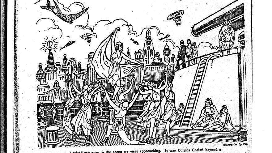 """Ilustración del futuro imaginado en """"Into the 28th century"""""""