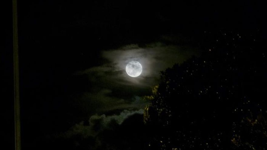 La superluna pudo verse esta noche entre las nubes en la capital grancanaria.