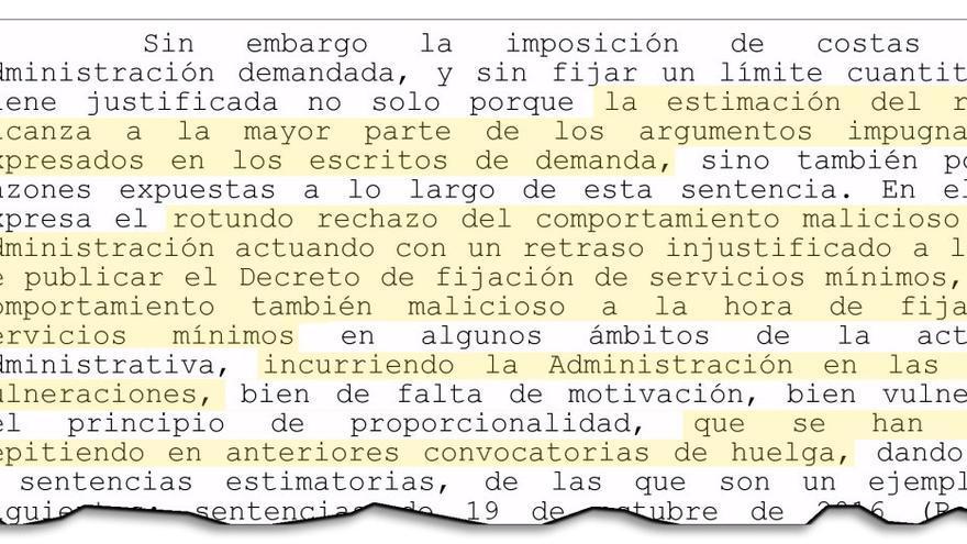 """Fragmento de la sentencia del TSXG que criticó la reiterada """"maliciosidad"""" de la Xunta al fijar los servicios mínimos"""