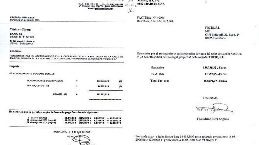 Facturas del supuesto pago de una comisión de Focio a Copisa para Pujol Ferrusola / Imagen de Cadena SER