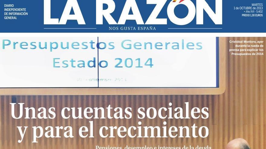 Portada de La Razón dedicada a los Presupuestos Generales de 2014