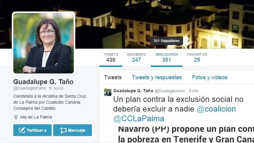 Pantallazo de la cuenta de Twitter de Guadalupe G. Taño