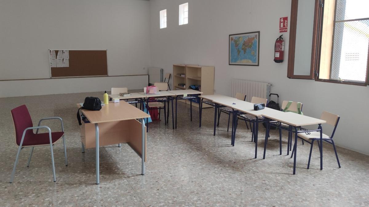 Las instalaciones del nuevo colegio de Argelita, ubicado en la casa de cultura del pueblo.
