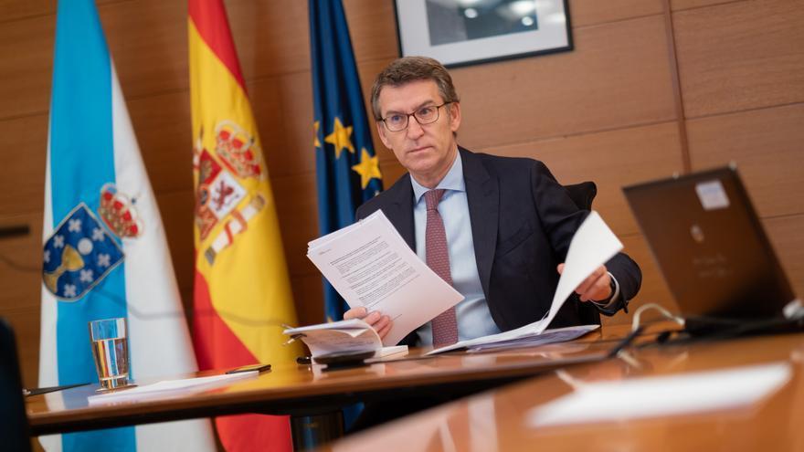 Feijóo durante la reunión por videoconferencia con Pedro Sánchez.