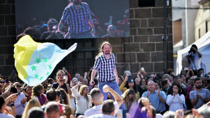 Pablo Iglesias, durante el acto de cierre de campaña del 26M.