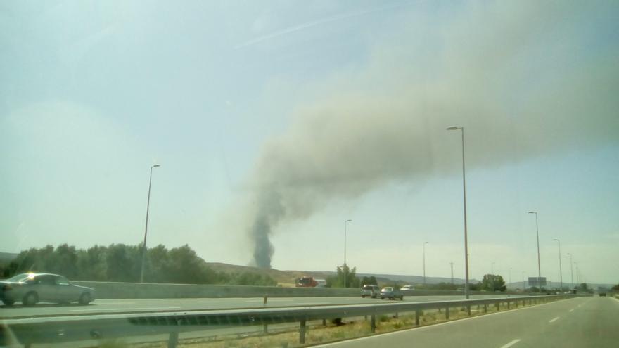 El incendio en Chiloeches, el pasado 26 de agosto desde la A-2