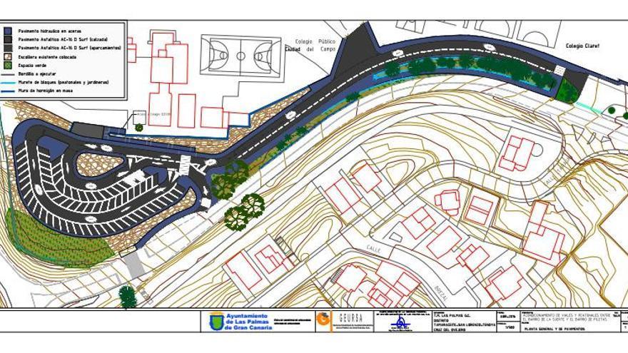 Plano del acondicionamientos de viales y peatonales entre el barrio de La Suerte y el de Piletas