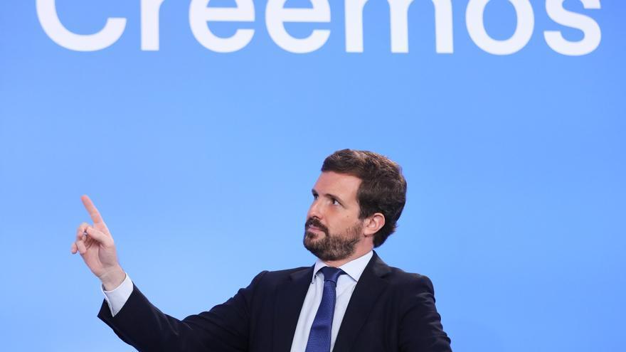 El presidente nacional del Partido Popular, Pablo Casado, durante el curso 'España, Europa y libertad' que organiza el Grupo del PPE. En San Lorenzo de El Escorial (Madrid) a 6 de julio de 2021.