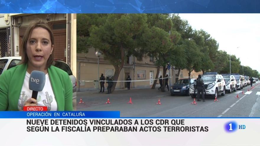 Una de las noticias emitidas sobre TVE informando sobre las detenciones