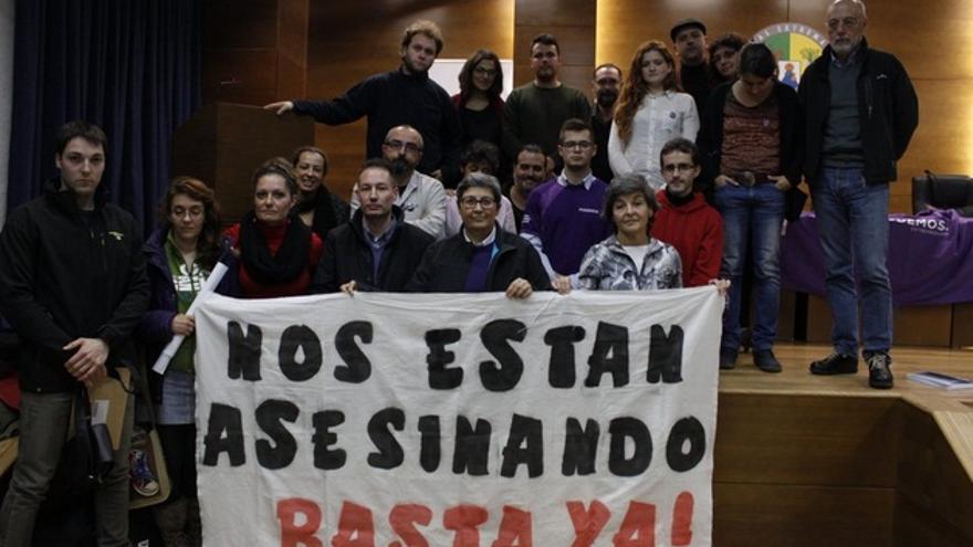 Acto de Podmeos en el campus universitario de Badajoz / Twitter @Podemos_EXT