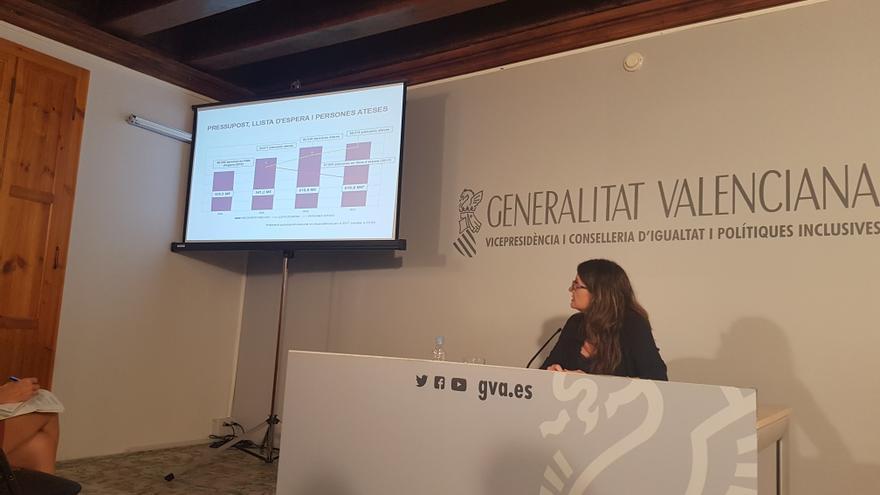 La vicepresidenta y consellera de Políticas Inclusivas, Mónica Oltra, hace balance de la gestión de la dependencia