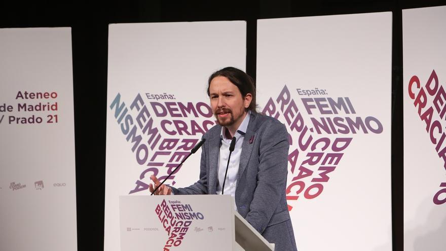 """Pablo Iglesias dice que el feminismo es la """"mejor vacuna"""" contra """"movimientos reaccionarios"""", en alusión a Vox"""