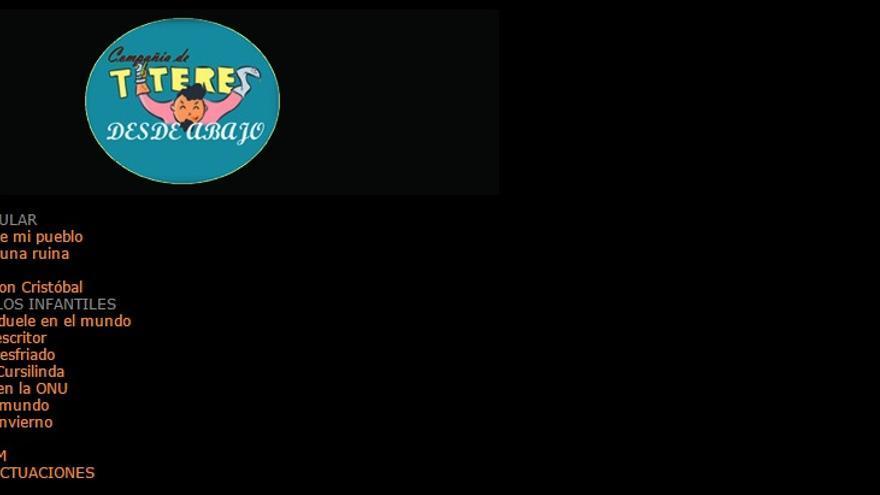 Pantallazo de la web de la compañía 'Títeres desde abajo'