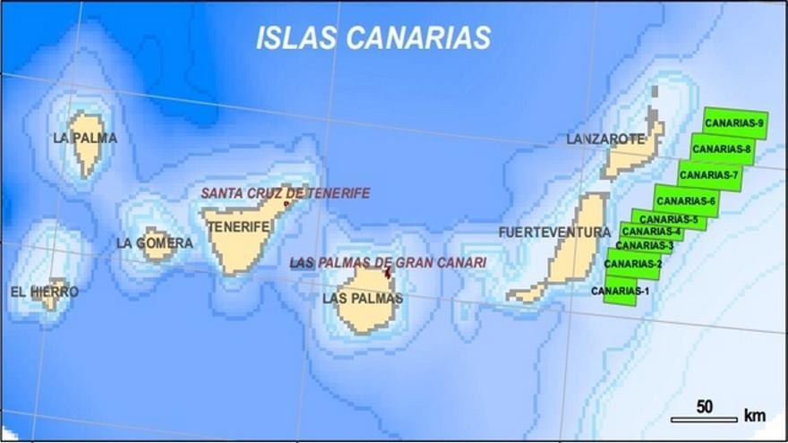 Mapa posición de sondeos en Canarias. Ministerio de Industria, Energía y Turismo.